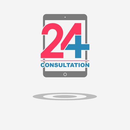 consulta médica: Veinticuatro disponibles consulta médica en línea. Tab. ilustración vectorial moderna de moda plana Vectores