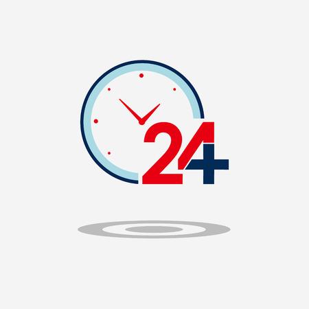 twenty four hour: Twenty four available medical help icon. Clock face. Flat trendy modern vector illustration Illustration