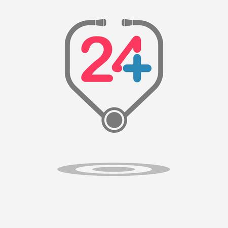 twenty four hour: Twenty four available medical help. Stethoscope. Flat trendy modern vector illustration