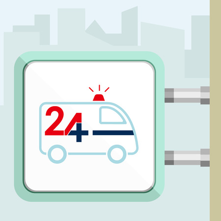 twenty four hour: Twenty four available medical help. Ambulance vehicle. Flat trendy modern vector illustration. Signboard concept. Illustration