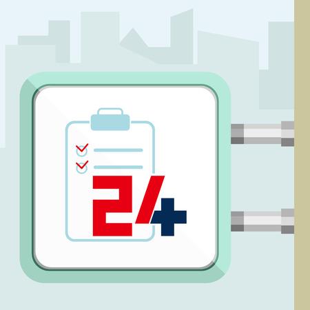 twenty four hour: Twenty four available medical help icon. Checkup. Flat trendy modern vector illustration. Signboard concept.