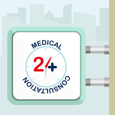 consulta médica: Twenty four available online medical consultation. Flat trendy modern vector illustration. Signboard concept. Vectores