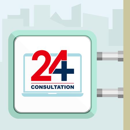 consulta médica: Veinticuatro disponible en línea de consulta médica. Ordenador portátil. ilustración vectorial moderna de moda plana. Letrero concepción.