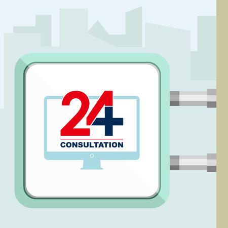 consulta médica: Veinticuatro disponible en línea de consulta médica. Computadora. ilustración vectorial moderna de moda plana. Letrero concepción. Vectores
