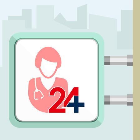 Twenty four available medical help.Nurse. Flat trendy modern vector illustration. Signboard conception.
