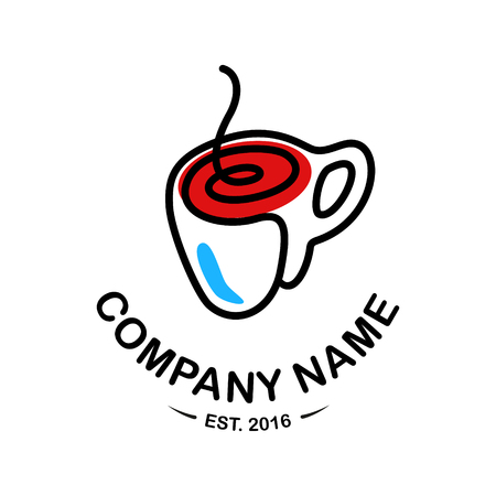 Logo for coffee or tea shop. Isolated on the white background