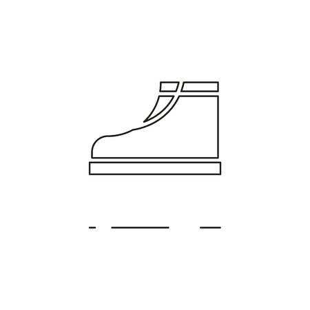crampons: Minimal modern thin line boot icon on white background. Linear symbols.