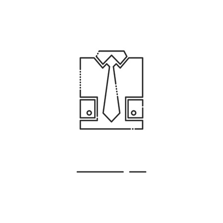 by the collar: Minimal modern thin line Shirt and tie icon on white background. Linear symbols. Illustration