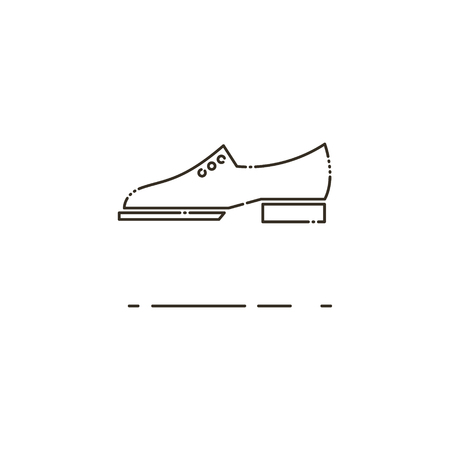 mens clothing: Minimal modern thin line Brogue shoes icon on white background. Linear symbols.