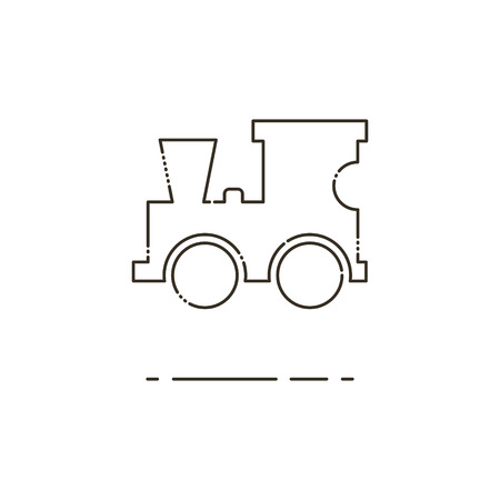 amusment: Minimal modern thin line Toy locomotive icon on white background. Linear symbols. Illustration