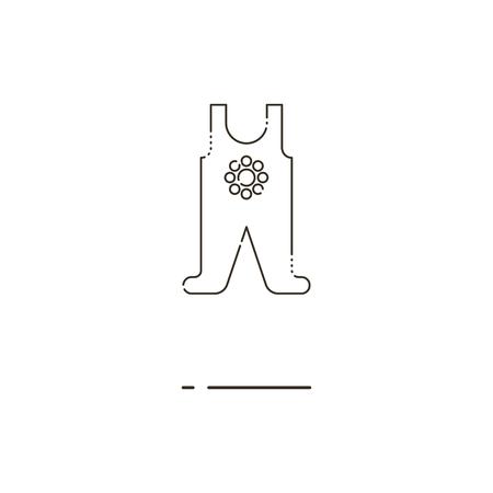 romper: Minimal modern thin line Baby romper icon on white background. Linear symbols.
