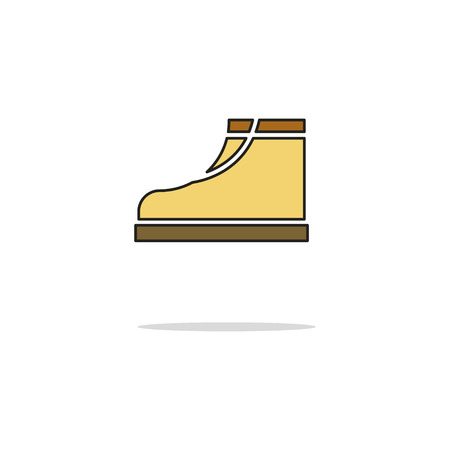 crampons: Boots color thin line icon on white background. Linear symbols.