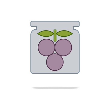 chutney: Canned plums color thin line icon on white background. Linear symbols.