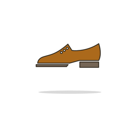 Brogue shoes color thin line icon on white background. Linear symbols. Illustration