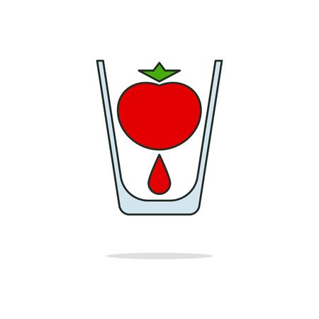 fiambres: Tomato juice color thin line icon on white background. Linear symbols. Vectores