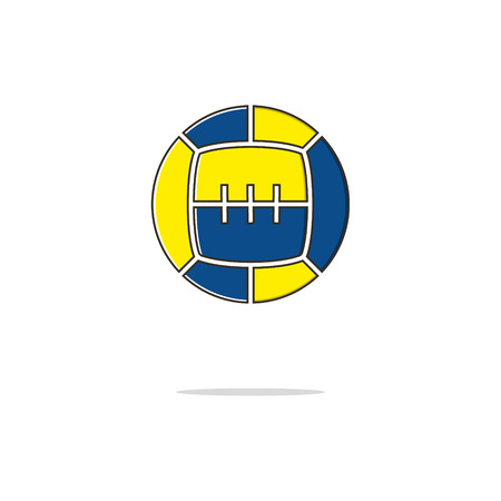 Sport ball color thin line icon on white background. Linear symbols.