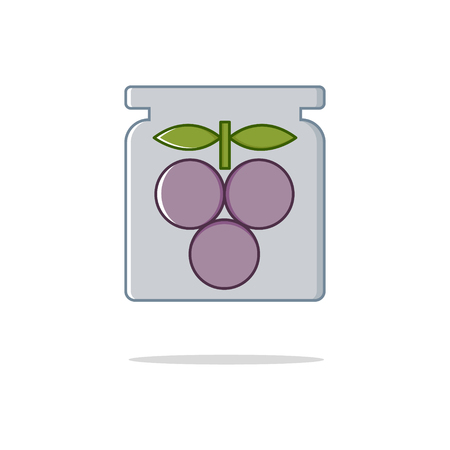 prune: Canned plums color thin line icon on white background. Linear symbols.