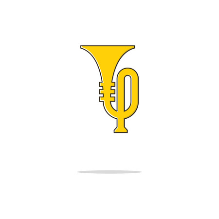 Trumpet color thin line icon on white background. Linear symbols.