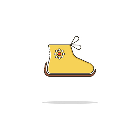 Baby shoes color thin line icon on white background. Linear symbols.
