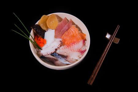 tuna mayo: Rice with sashimi chopsticks