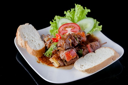 kabob: kabob bbq with bread - omato - sauce - cucumber