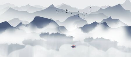 Chinese style artistic ink landscape painting