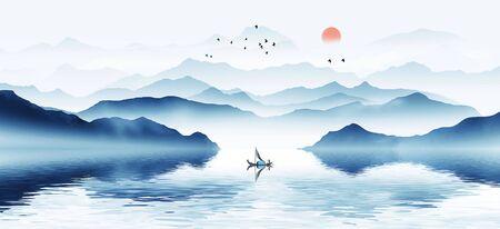 Modern minimalist new Chinese ink landscape Banco de Imagens