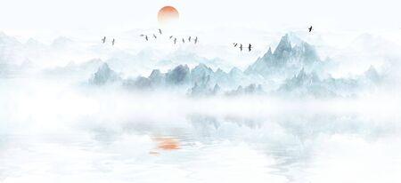 Modern minimalist new Chinese ink landscape Stockfoto