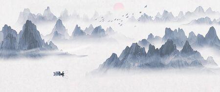 Handgemalte künstlerische Tinte Landschaftsmalerei im chinesischen Stil