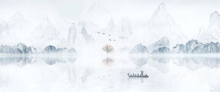 Hand-painted Chinese style artistic ink landscape painting