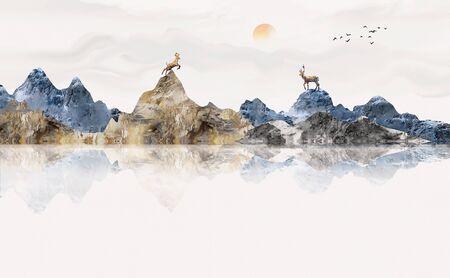 Blue elegant ink landscape painting
