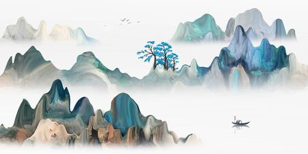 Chinese landscape artistic landscape painting