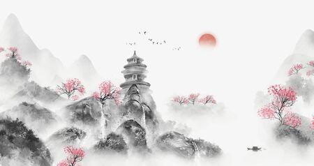 Peinture de paysage artistique de paysage chinois
