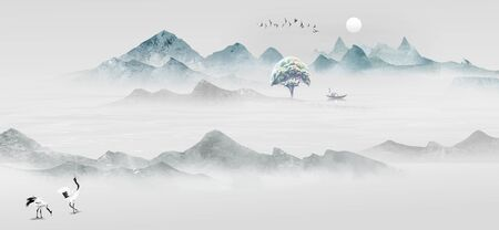 Chinese style artistic ink landscape painting Standard-Bild