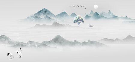 Peinture de paysage à l'encre artistique de style chinois Banque d'images