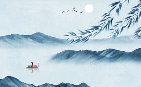 Chinese Fengshui Ink Landscape Decorative Painting