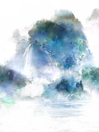 Blue artistic conception landscape painting