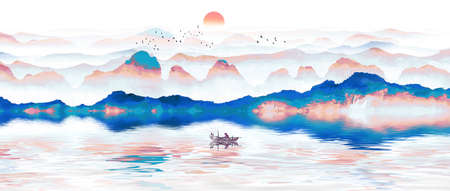 Freehand Chinese style and elegant artistic conception ink landscape painting Stock Photo