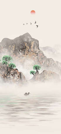 New Chinese style golden artistic conception ink landscape painting