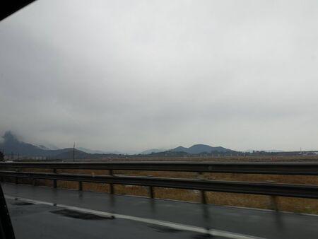 The fleeting scenery on the highway