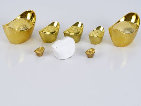 Chinese New Year 2020 decorations, dolls of mouse, chinese gold ingot (English translation for foreign text means blessing, luck and wealthy). Happy Year of the rat