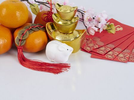 Chinese New Year 2020 decorations, dolls of mouse, chinese gold ingot, flowers of good fortune and oranges (English translation for foreign text means blessing, luck and wealthy). Happy Year of the rat