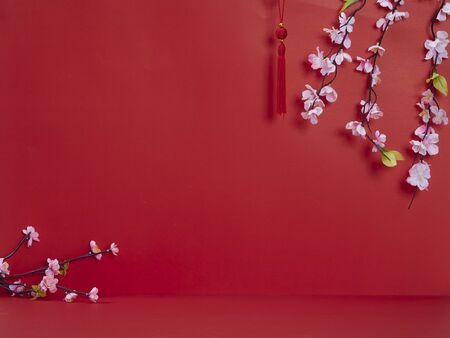 Chinese new year 2020. Happy chinese new year or lunar new year. Flowers of good fortune on red background