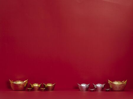 Chinese new year 2020. Happy chinese new year or lunar new year. Chinese gold ingot on red background (English translation for foreign text means blessing, luck and wealthy). Banco de Imagens