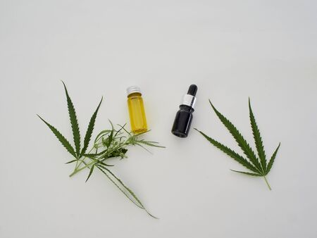 Medicinal cannabis with extract oil in a bottle on white background, Healthcare concept. CBD hemp oil. Top view, space for text