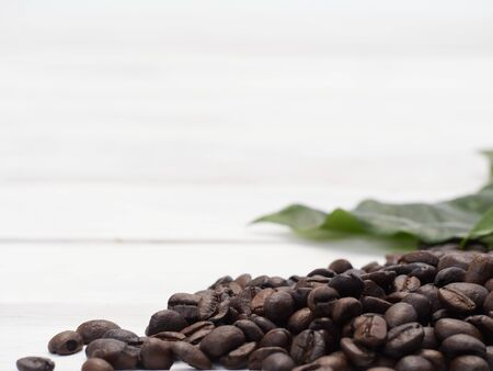 Roasted coffee beans and fresh coffee leaves on old white wooden table.