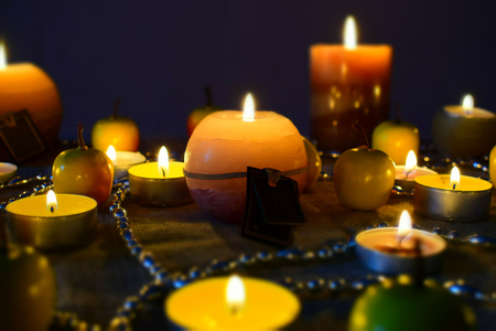 candle flame close up background. Archivio Fotografico