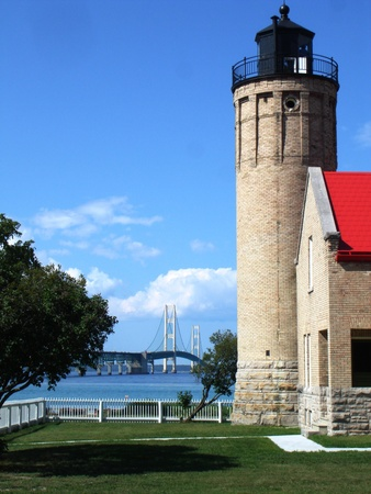 mackinac: Mackinac Light House and Mackinaw Bridge Stock Photo