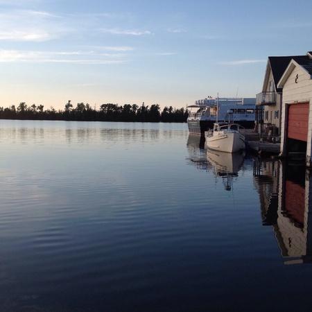 cobre: el puerto de cobre puesta de sol Foto de archivo