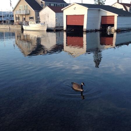 reflecting: Reflecting sunset copper harbor